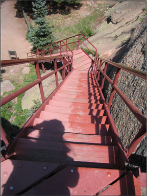 steps down from Devils Head lookout tower
